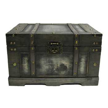 Old Black Fancy Storage Chest